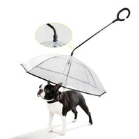Dog Apparel Pet Dogs Walking Accessories-Transparent C Type Umbrella With Leash For Dogs-Dual Purpose And