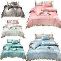 Summer Bedding Sets Queen calfornial king Embroidery Duvet Cover Set Adults 4pcs Flat sheet Pillowcases bed linens twin size 3pcs DHL HXSJ02
