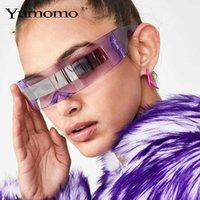 Designer de luxo óculos de sol moda siamese futurista envoltório em torno de traje monob marca designer máscara óculos roxo azul óculos de proteção