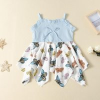 Fashion Sweet Dress For 2- 9 Years Girls Butterfly Print Squa...