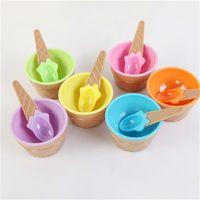 Crianças tigelas de sorvete copo casais bacia presentes Sobremesa contêiner suporte com colher crianças presente fornecimento rápido e9q9