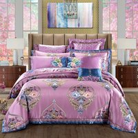 Bedding Sets Luxury Purple Silk Jacquard Egyptian Cotton Set Blooming Flowers Duvet Cover Embroidery Bed Sheet Bedspread Pillowcases