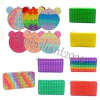 Caja de lápices 20cm Fidget Toys Wallet Portátil de descompresión Pulsado Burbuja Autismo Sensorial Autismo Especial Necesidades Estrés Relevante Squeeze Toy para niños
