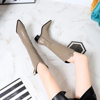 Winter 2022 Womens Red bottom Short boots Half High Heel 5.5CM Pointed Toes Mid-calf Booties Ladies Knight Suede leather Bots buckle Party wedding Size 34-40 With box