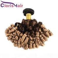 Dunkle Wurzel Blonde Fumi Haarverlängerungen Rohe indische Jungfrau Menschliches Haar 3 Bundles farbig 1b 4 27 Tante Funmi Romance Curls Ombre Weave