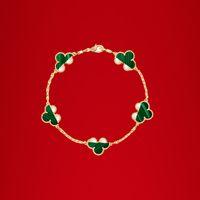 Chaîne de bracelet de trèfle à quatre feuilles classique 18 carats pour femmes est à la mode et de la boîte-cadeau de haute qualité 001