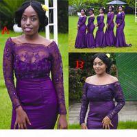 Purple Wedding guest Dreses 2019 South African Long Mermaid Bridesmaid Dresses Long sleeves Elegant Off shoulder Maid Of Honor Gown Cheap