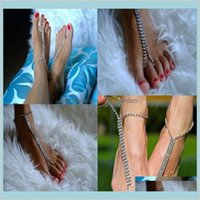 Drop Consegna 2021 EST Fashion Rhinestone Catena in lega di sandali a piedi nudi Sandali Beach Foot Braccialetti per le donne gioielli HJIDM