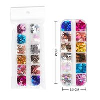 Nail Art Decorations 12 Girds Fluorescence Glitter Sequins Butterfly Sticker Neon 3D Fimo Flakes Laser Slices Colorful Decoration