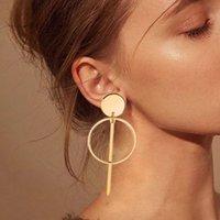 أقراط بسيط الأزياء 2020 الاتجاه جولة الذهب هندسة طويلة للنساء شرابة مجوهرات قطرة الصليب بوهو هدية حلق بالجملة