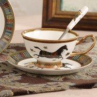 Taza de café y platillo conjunto Tarde europeo Taza de té negro Hueso CoffeCup