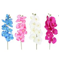 10Pcs lot Lifelike Artificial Butterfly Orchid flower Silk Phalaenopsis Wedding Home DIY Decoration Fake Flowers NHD6679