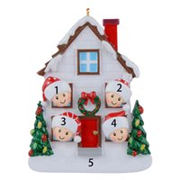 Whole -Maxora Customized Resin Gloss House of 4 Personalized Christmas Tree Ornaments Holiday Decoration Gift