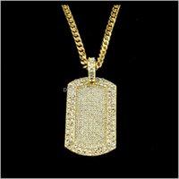 Pendentif colliers pendentifs bijoux hop glacé sorcier gold Sier Bling Tag MyMarrerie Chaîne de carte Collier FL Diamond Rapper Guys Cuban Chaînes JE