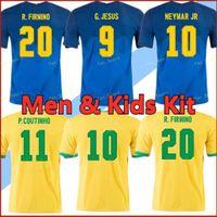2020 Jersey de fútbol Camiseta de Futebol 2021 Brasil Men + Kit Kits Jesús COUTINHO Paquete Neres Marcelo Pele 20 21 Tailandia Camisa de Fútbol