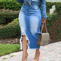 Rebicoo mulheres saias cintura jeans jeans saia senhoras bandagem split long plus azul slits meados casual