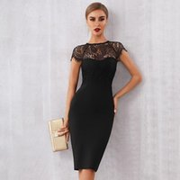 Casual Dresses Hirigin Summer Women White Lace Bandage Dress Sexy Black Short Sleeve Midi Hollow Out Celebrity Style Club Party
