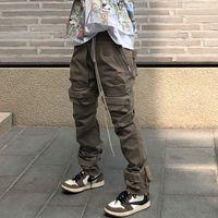 Stokta Yüksek Sokak Çok Cep İpli Tulum Erkek Düz Kurdela Boy Rahat Kargo Pantolon Hip Hop Gevşek Baggy Pantolon