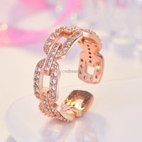 Iced out Chain Diamond Ring Band Finger Rose Gold Open Adjustable Rings for Women Girls Engagement Wed Fashion Jewelry Will and Sandy