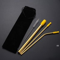 8 teile / los Wiederverwendbarer Trinkhalm Set gerade gebogene Strohhalme mit Silikonspitze Abdeckung Reinigungsbürste Metall Smoothies Trinkhalme BWE6171