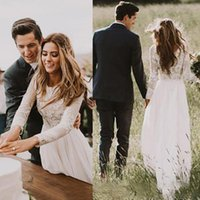 Bohemian Lace Wedding Dresses With Country Long Sleeves Floor Length A Line Lace Applique Chiffon Boho Bridal Gowns Cheap