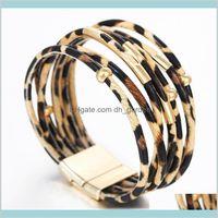 Очаровательные украшения Drop Доставка 2021 Богемные леопардовые кожаные браслеты для женщин Мужчины Ультрамодные Браслеты Элегантные ручной работы Многослойный браслет B