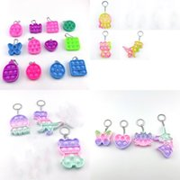 Pop Funny Party Favor Fidget Stress Sensory Cartoon Dimple Key Chains Silicone Toys Push Bubble Adult Child Popper Toy Keychain 2850 Q2