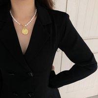18 Karat vergoldeter Münz-Anhänger-Kippkipper-Chian echte Perle 100% natürliche Süßwasser-kultivierte Choker-Halskette für Mädchen-Party