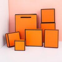 Presentes de jóias e caixas de varejo Laranja Kraft Embalagem Pulseira / Colar / Anel / Ear Nail Box National Ano Novo Presente Personalizar 7 Tamanho Seleção