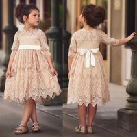 Kids dresses for Girls Spring Clothes Half-sleeve Lace Party Costume Red Children Elegant Prom Frocks 2-7Y Girls Casual Wear X0509