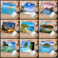 Mouse Pads & Wrist Rests XGZ Beach Palm Island Background Anti-Slip Gaming Speed Pad 180x220x2mm Cool Design Player Rubber Mat Laptop