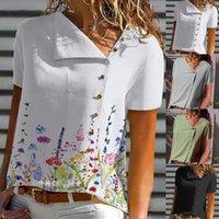 Damen Tanks Camis Vintage Kurzarm Bluse Frauen Urlaub Blumendruck High Collar Casual Shirt Sommer Mode Botton Tops Vetement Fe
