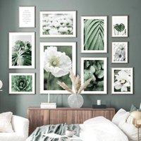 Картины Bloom Белый Свежий Цветок Зеленые Листья Кактус Nordic Плакат Усадьба Стена Искусство Печать Холст Картина Изображение для гостиной Декор