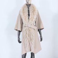 Muchas de lana para mujer CXFS 2021 Chaqueta de invierno Mujeres Grandes Abrigo de piel verdadero Mapache Natural Mapache Cinturón Caliente Outerwear Streetwear Fashion