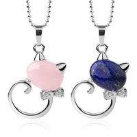 Trendy Natural Stone Cat Pendant Necklace with Beads Chain Jewelry for Women or Men Multi Colors Options