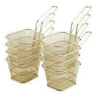 収納バスケット8個ミニフードストレーナーバスケット、チップ/玉ねぎのリング、正方形のステンレス鋼チップフライヤーバスケット、フライパンアクセサリー