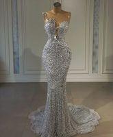 Sparkly 2021 Scepined Silver Mermaid PLUS Платья выпускного вечера ASO EBI Арабский драгоценный камень Африканские бисеры вечерние платья плюс размер приема вторые платье