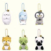 6 стилей 8 см плюшевая игрушка творческая кукла лягушка панда пингвин фаршированные животные, желающие подвесной ключевой цепь