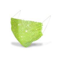미국 주식 50pcs 패션 다이아몬드 파티 마스크 블링 다이아몬드 파티 마스크 모조 다이아몬드 그리드 그물 마스크 390 V2에 대 한 빨 수있는 섹시한 중공 마스크