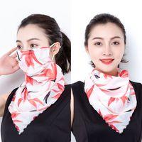 Sommer Frauen Schal Sonnencreme Große Nackenschutz Atmungsaktive Maske Abdeckung Gesicht Chiffon Drucken Dünn Schleier