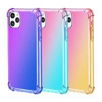 Rainbow Gradient Kolor Wzmocnione Corners TPU Zderzak Telefon Przypadki do iPhone 12 11 Pro Max XS X XR 13Promax Realme X7 C21 7Pro V11 5g Odpowiednie oppo A83 A79 A93 A53 A53S A33