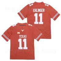Мужчины колледжа футбол Texas Longhorns 11 SAM Ehlinger Jersey университетский университетский цвет оранжевый вышивка и шить дышащий чистый хлопок хорошее / высшее качество продажи