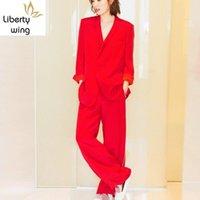 Women's Suits & Blazers OL Style Red Wide Leg Single Button Slim Blazer Jacket Two Piece Set Women 2021 Luxury Runway Office Pant Suit Femal