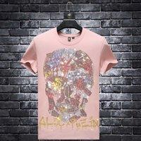 2021 verão homens moda marca quente diamante t-shirt de manga curta rodada pescoço meio cara social grande casal