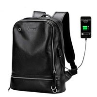 Backpack Mens Genuine Leather For Laptop Usb Charger Back Pack High Quality Black Waterproof Male Rucksack