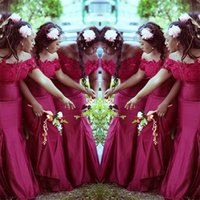 2021 Lace Bridesmaid Dresses Long Off Shoulder Strapless Mermaid Wedding Party African Maid Of Honor Evening Gowns Plus Size