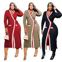 Women's Trench Coats 11TS1083 Autumn Winter Women Casual Fashion Ribbed Webbing Stitching Printed Long-sleeved Long Coat