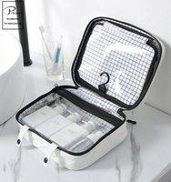 Сумки для хранения Косметическая молния Travel Bag Организатор общежития Комната Tients Makeup Backet Ванная комната Neceser Small BW50SN