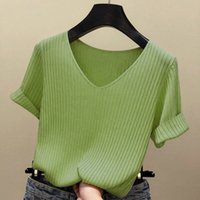 Knits Summer Short-sleeved T-shirt Women's Loose Plus Size Knitwear Top Woman Tshirts Tops Mujer Camisetas