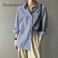 Bazhenova Kadınlar Tatlı Bluz 2021 Sonbahar Gömlek Kadın Moda Kişilik Geri Yarık Gevşek Lady Güz Çizgili R811 Kadın Bluz Gömlek Güz